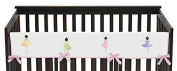 Sweet Jojo Designs Pink Ballerina Ballet Dancer Long Front Rail Guard Baby Teething Cover Crib Protector Wrap