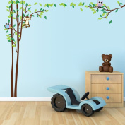 Ryuan Owl and Monkey on Tree Branch Wall Decal Sticker Large size Home Decor Nursery Wall Decorative