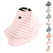AMAZLINEN Universal Fit Multi-use Baby Car Seat Covers,Infant Car Seat Canopy,Nursing Covers,4 In 1,Stretchy Breathable 360° Coverage,Unisex Pink and White Stripe