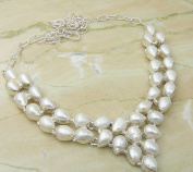 Genuine Pearl 925 Silver Overlay Handmade Fashion Necklace Jewellery