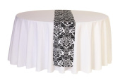 Damask Table Runners 30cm x 270cm , White and Black
