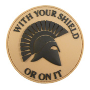Tan Mud Desert Spartan Helmet WITH YOUR SHIELD OR ON IT PVC 3D Rubber hook and loop Patch