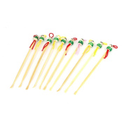 10 Pcs Manmade Bamboo Green Doll Head Design Earwax Remover Pick Beige