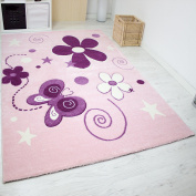 Vimoda INFINITY6566 Rug for Childs Room Handgeschnittene Contour Butterfly and Flowers, Stars, OekoTex Certified, Pink/Purple, Pink, 160 x 230 cm