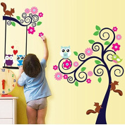 Love owls and squirrels bedroom living room decorative wall stickers removable background colour Flower decal