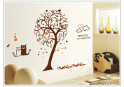 Cute cat love tree Wall Stickers bedroom living room study background removably attached to environmental protection