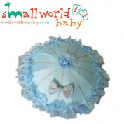 Blue Bling Frilly Pram Parasol
