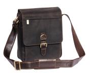 Real Leather Shoulder Cross Body Organiser Work iPad Tablet Bag HOL11 Brown