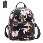 Donalworld Girl Floral Casual Flower Print PU Leather Women Backpacks School Bags Black