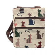 Cat Travel Wallet, Cats Tapestry Style Messenger Bag, Small Shoulder Bag ,Ladies Signare Cheeky Cats Across Body Handbag