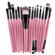 Koly Pro 15 pcs Make Up Sets Soft Eye Shadow Foundation Eyebrow Lip Makeup Brushes