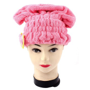 Lady Gym Travel Shower Elastic Hair Fast Drying Cap Turban Towel Pink