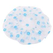 Woman Elastic Band Flower Pattern Shower Cap Bath Hat Blue Clear