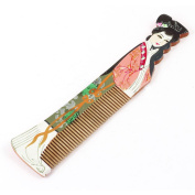 Classic Style Coral Pink Beauty Printed Wooden Hair Comb Wood Colour