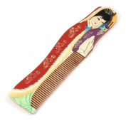 Classic Style Red Beauty Printed Teeth Wooden Hair Comb Wood Colour
