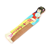 Palace Beauty Printed Teeth Wooden Hair Comb Wood Colour