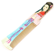 Hairdressing Beauty Printed Wooden Hair Comb Wood Colour Aquamarine