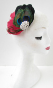 Red Black Silver Peacock Feather Fascinator Hair Clip Races Vintage 1920s Z14 *EXCLUSIVELY SOLD BY STARCROSSED BEAUTY*