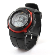 Man Red Black Round Dial Adjustable Band Backlight Alarm Sports Watch