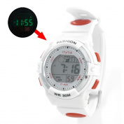 Lady White Adjustable Band Red Coldlight Stopwatch Alarm Clock Sports Watch w Box