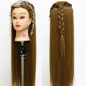 Neverland Beauty 70cm Long Smooth 100% Synthetic Brown Hair Hairdressing Equipment Styling Head Doll Mannequin Training Head Tools Braiding Cutting Student Practise Model with Clamp UK Stock