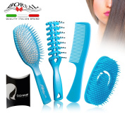 Set detangling hairbrushes, plastic blue colour. Wet, dry, smooth curly hair. Made in Italy. Spread cream and balm during the shower.