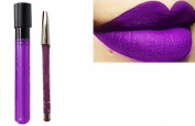 2pc Bright Dark Lilac Matt Kiss-Proof Lipstick Lip Colour Wand Set with Lip Liner