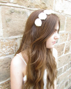 Ivory White Sea Shell Hair Crown Headband Silver Beach Bridal Mermaid Ariel A04 *EXCLUSIVELY SOLD BY STARCROSSED BEAUTY*