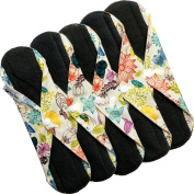 Caring Panda - Reusable Bamboo Cloth Sanitary Pads - Cloth Menstrual Napkins - for HEAVY FLOW or OVERNIGHT - 5Pack Flower Pattern - Charcoal Layer to Avoid Leaks, Odours and Stains