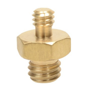 Foto & Tech Brass Spigot 1cm Male to 0.6cm -20 Male Threaded Screw Adapter with Hex Nut Centre