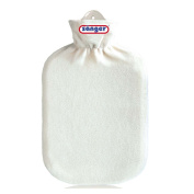 2 Litre Hot Water Bottle with Fleece Cover Hot Water Bottle Hot Therapy Fluffy White