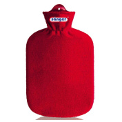 2 Litre Hot Water Bottle with Flecce Fluffy Cover Hot Water Bottle Heat Therapy, Red