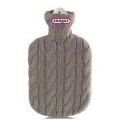 2 Litre Rubber Hot Water Bottle with Knitted Removable Cover Cable Knit Stone