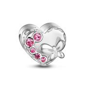 TinySand 925 Sterling Silver Present Shape In Heart Charm Fits For Pandora Style Charms Bracelets, Best Gift For Valentine's day