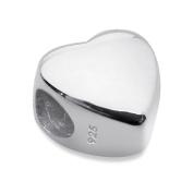 Plain Heart Shaped 925 Sterling Silver Bracelet/Bangle Charm Bead