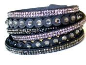 Lapeach Fashions Latest Gorgeous Crystal Dotted Multi Layered Slake Bracelet Suede Wrap Bracelet Wrist Bracelet Cuff Bracelet Black Beige Dkgrey