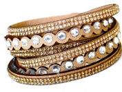 Lapeach Fashions Latest Gorgeous Crystal Dotted Multi Layered Slake Bracelet Suede Wrap Bracelet Wrist Bracelet Cuff Bracelet Black Beige