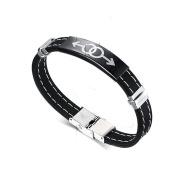 Daesar Stainless Steel Bracelet Mens Rubber Silicone Bracelets Sex Symbol Gay Pride LGBT Bangle