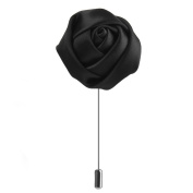 LEORX Men Handmade Rose Flower Boutonniere Tie Pin Brooch - Black