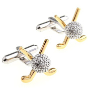 Covink Golf Stick and Gold Ball Metal Noble Men's Gold Silver Cufflinks