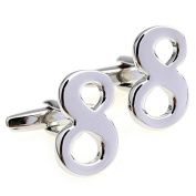 Covink Silver Plain Coloured Metal Lucky Number 8 Men's French Shirt Wedding/Party/Holiday Cufflinks