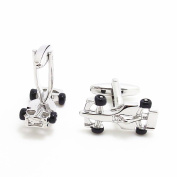 Covink 3d Silver and Black Formula Racing Car Cufflinks F1 Car Cuff Sports Gemelos for Car Fans with Gift Bag