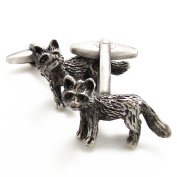 Covink Cute Funny Fox Cufflinks Antique Silver Cuff Symbolise Good Luck and Avoidance of Evil