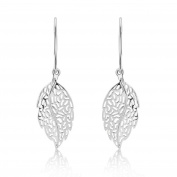 Sterling Silver 925 Leaf Design Fine Quality Drop Earrings