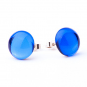 Vintage cobalt blue crystal glass mirror stud earrings with sterling silver 925 posts and backs - hand-made in East Sussex, England