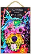 West Highland Terrier Gift - Colourful 'Dean Russo' design art decor wall plaque - Plaque measures 18cm x 27cm