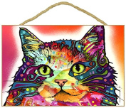 Cat Lovers Gift (long haired) - Colourful 'Dean Russo' design art decor wall plaque - Plaque measures 18cm x 27cm