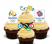 Summer Olympics 2016 - Edible Cupcake Toppers - Stand-up Wafer Cake Decorations