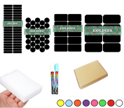 88 RE-WRITABLE CHALKBOARD BLACKBOARD LABELS Herb & Spice Jar or Tupperware Stickers in various sizes includes 2 chalk pens (3mm) and 1 magic eraser sponge
