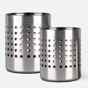 Happy Friends - Cutlery Holder and Kitchen Utensil Holder - Stainless Steel - Set of 2